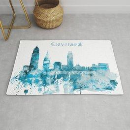 Cleveland Ohio Monochrome Blue Skyline Rug