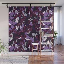 Autumn Leaves Flower Pattern Purple Wall Mural