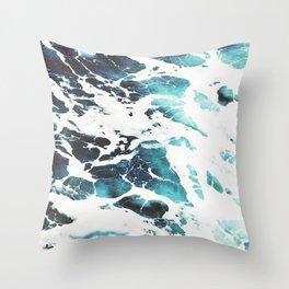Water, Blue, Sea, Ocean, Minimal, Pattern, Modern art Throw Pillow