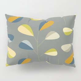 Mid Century Modern Graphic Leaves Pattern 3. dark grey Pillow Sham