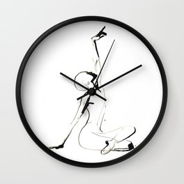 India Ink Dance Drawing Wall Clock