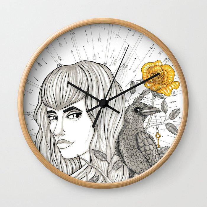 Goddess Morrigan Inktober 2016 Wall Clock