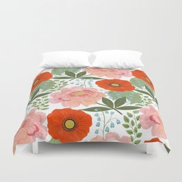 Pions and Poppies Duvet Cover