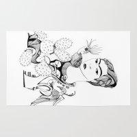 frida kahlo Area & Throw Rugs featuring Frida Kahlo by eva vasari
