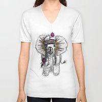 hippie V-neck T-shirts featuring Hippie Elephant by  Steve Wade ( Swade)