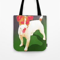 jack russell Tote Bags featuring Jack Russell by Ken Surman