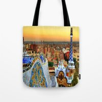 barcelona Tote Bags featuring Barcelona by Darla Designs