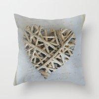 Driftwood Heart Throw Pillow