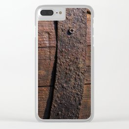 Old wood and rusty metal of a barrel Clear iPhone Case