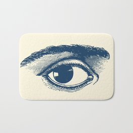 I see you. Navy Blue on Cream Bath Mat