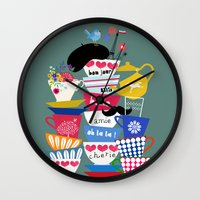 bon iver Wall Clocks featuring bon jour by Elisandra