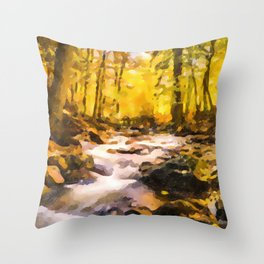 Wild waterfalls flowing through a forest Throw Pillow