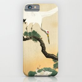 Crane and its chicks on a pine tree  - Vintage Japanese Woodblock Print Art iPhone Case
