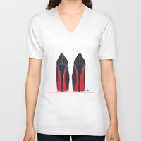 heels V-neck T-shirts featuring Mighty Heels by anna hammer