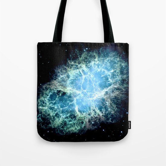 Crab Nebula : Aqua Teal Blue Galaxy Tote Bag