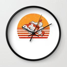 Vintage Goldfish Sunset Retro Gift Wall Clock
