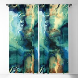 Marbled Ocean Abstract, Navy, Blue, Teal, Green Blackout Curtain