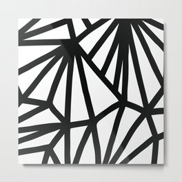 Modern Black and White geometric pattern #abstractart #decor Metal Print