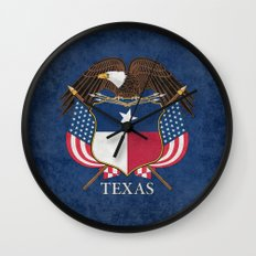 Texas flag and eagle crest - original vintage design by BruceStanfieldArtist Wall Clock