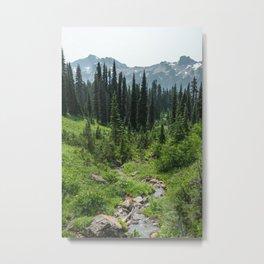 Mount Rainier Adventure IV - Pacific Northwest Mountain Forest Wanderlust Metal Print