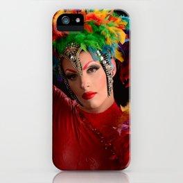 Drag Queen in Rainbow Headdress iPhone Case