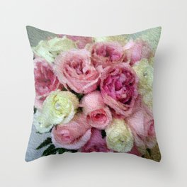 Gorgeous light pink and mauve wedding bouquet Throw Pillow