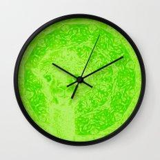 Ghostly alpaca and mandala in Green Flash Wall Clock