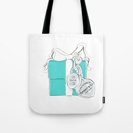 Blue Gift Box Tote Bag
