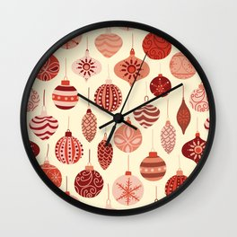 Christmas Ornaments Red Pink Beige Pattern Wall Clock