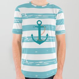 AFE Nautical Teal Ship Anchor All Over Graphic Tee
