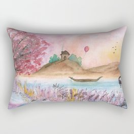 Watercolor Refuge Landscape Rectangular Pillow
