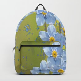 Forget-me-not flowers - watercolor art on green background Backpack