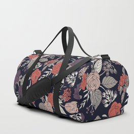 Purple, Gray, Navy Blue & Coral Floral/Botanical Pattern Duffle Bag