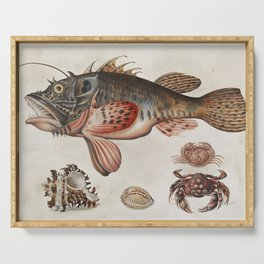 Vintage Fish and Crab Illustration by Maria Sibylla Merian, 1717 Serving Tray