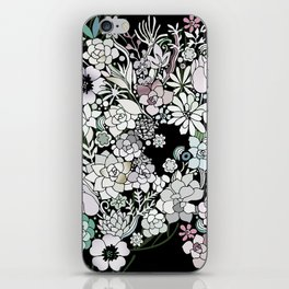 Colorful black detailed floral pattern iPhone Skin