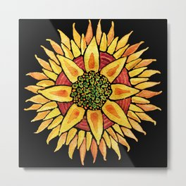Sunflower Starburst Metal Print