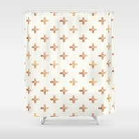 rose gold Shower Curtains featuring Rose Gold Pattern by Jenna Davis Designs