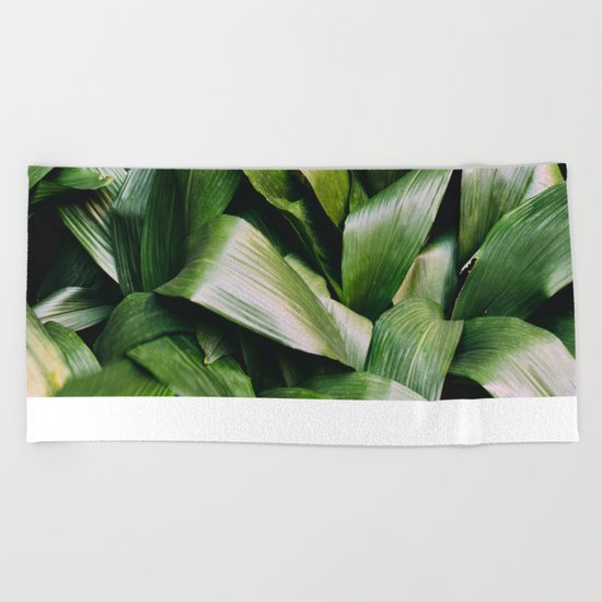 Green Leaves Closeup Pattern Beach Towel