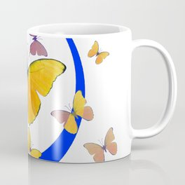 YELLOW BUTTERFLIES & BLUE RING MODERN ART Coffee Mug