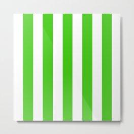 Harlequin green - solid color - white vertical lines pattern Metal Print