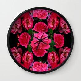 GARDEN ART OF FUCHSIA PINK ROSES Wall Clock