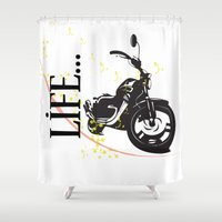 motorcycle Shower Curtains featuring Motorcycle lifestyle  by Ezgi Kaya