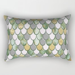 Oceanic Green Pink Gold Mermaid Scales FHLVLB SD Rectangular Pillow