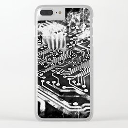 platine board conductor tracks splatter watercolor black white Clear iPhone Case