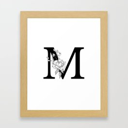 M botanical monogram. Letter initial with peonies Framed Art Print