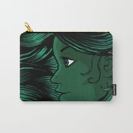 Long Hair Girl (Green) Carry-All Pouch
