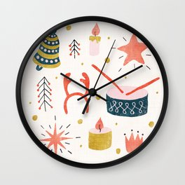 Christmas Card with Toys Wall Clock