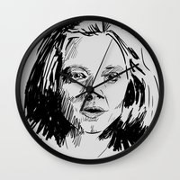 silence of the lambs Wall Clocks featuring Clarice Starling Sketch - The Silence of the Lambs by Soyarts