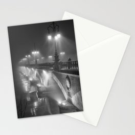 Paris, Bridge over the River Seine nighttime black and white photograph Stationery Cards