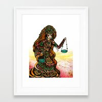 astrology Framed Art Prints featuring Astrology Illustration Series-Libra by Erina Dempsey